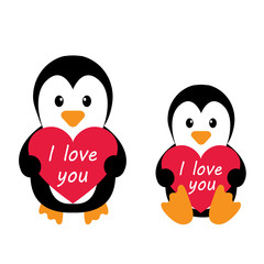 penguins and heart and an inscription