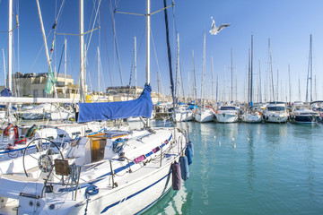 flotta di yachts in un porto italiano, Mar mmediterraneo