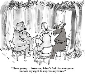 Stock market cartoon.  In group therapy, the bear feels he cannot share his fears because the bull is in attendance.