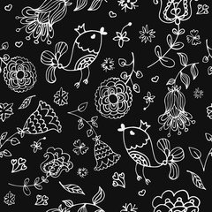 Cute doodle seamless floral pattern with birds. Background, texture, textile