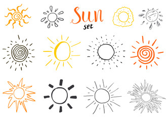 Hand drawn set of different suns, sketch vector illustration isolated on white