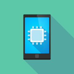 Long shadow phone icon with  a cpu