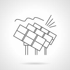 Solar power station flat line vector icon