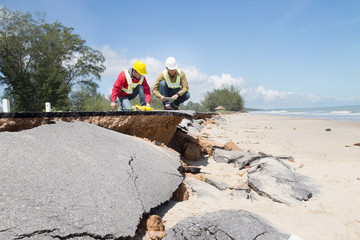 Civil Engineer check Beach Road slide along the beach to water erosion Wall mural