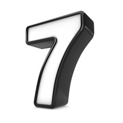 3d black plastic number 7 seven isolated white background.