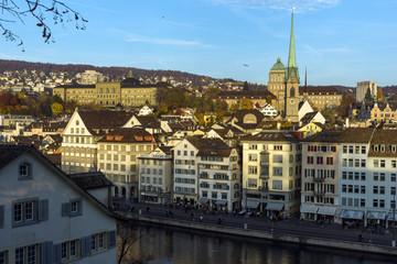 Reflection of City of Zurich in Limmat River, Switzerland