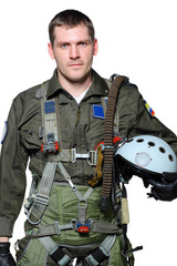 military pilot, isolated in white background