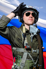 military pilot, in Russian flag background