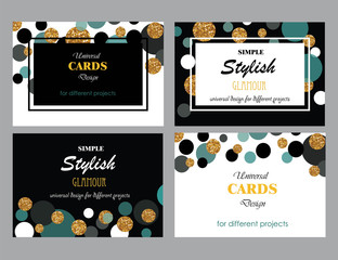 Collection of Universal Modern Stylish Cards Templates with Gold Glitter Dots.