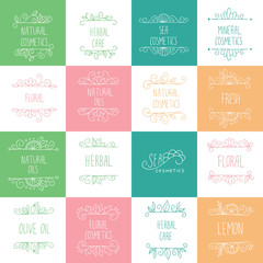 Vector set of hand drawn logos and labels for beauty shops and cosmetics