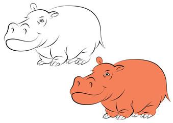 Illustration of a cheerful orange hippopotamus