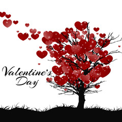 Valentines Day Greeting Card. Tree Of Love. Vector illustration