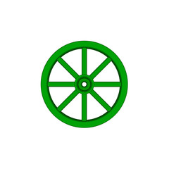 Vintage wooden wheel in green design