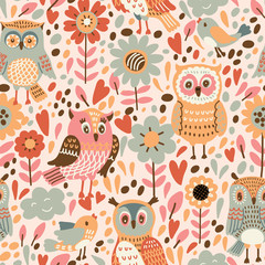 Seamless pattern with flowers and owls. Vector illustration which can be used as wallpaper or wrapping paper