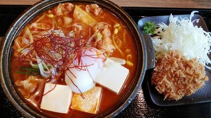 Set of Healthy Japanese Kimji Food with Tonkatsu