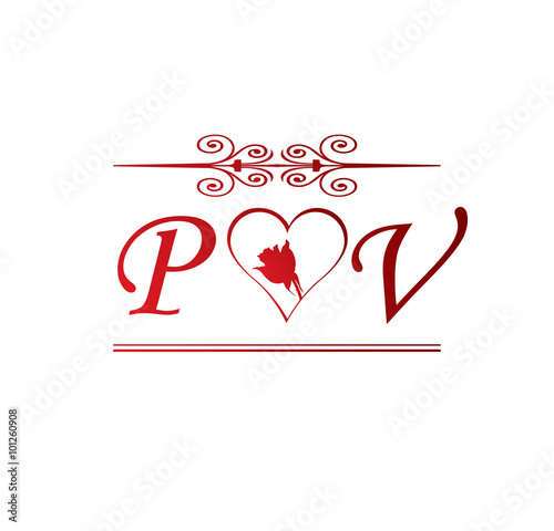 PV Love Initial With Red Heart And Rose