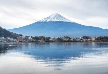 Fuji mountain under cloudy sky