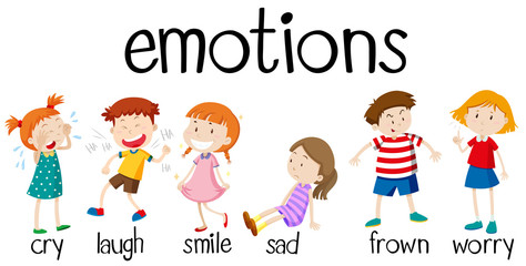 Children expressing different emotions