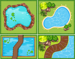 Four scene of pool and pond