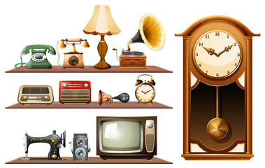 Different kind of vintage objects