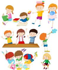 Children doing many activities
