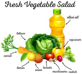 Fresh vegetables and olive oil for salad