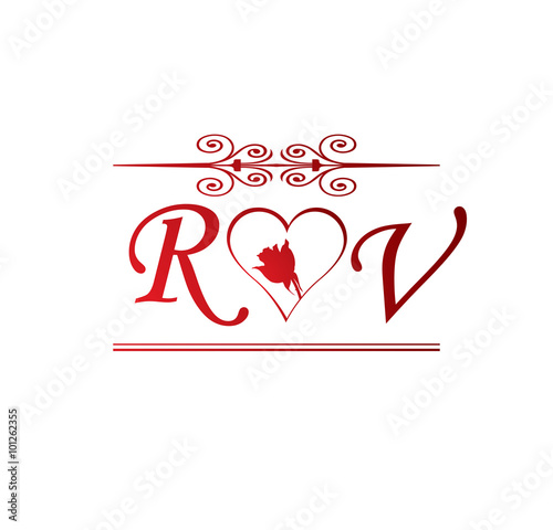 Vr Love Initial With Red Heart And Rose Stock Image And Royalty