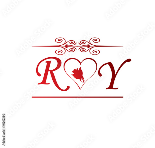Quot Ry Love Initial With Red Heart And Rose Quot Stock Image And