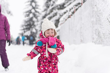 little girl at snowy winter day