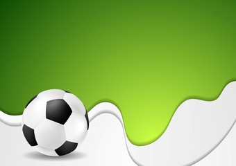 Green wavy soccer background with ball
