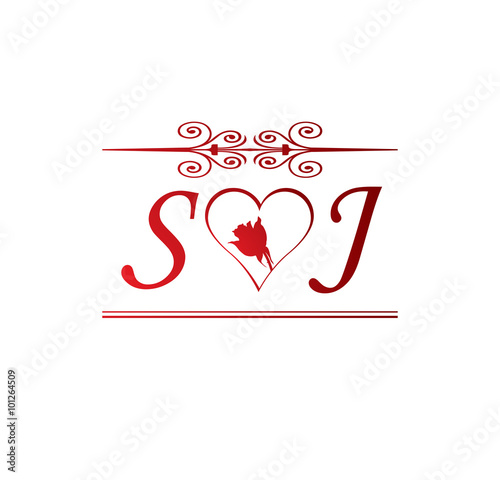 quotsj love initial with red heart and rosequot stock image and