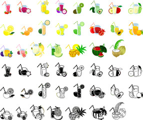 The icons of various fruits juice
