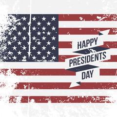Happy Presidents Day USA grunge Flag Background