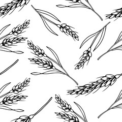Organic Rice seamless pattern, Contour drawing vector illustration, Perfect for wallpapers, wrapping papers, bakery menu, web page background, textile