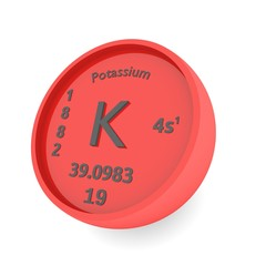 Potassium chemical element sign in periodic table