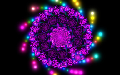 Abstract fractal fantasy violet pattern and shapes.