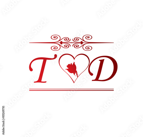 TD Love Initial With Red Heart And Rose Stock Image And Royalty Interesting T D Love