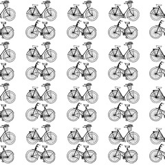 Hand-drawn illustrations. Vintage bicycles. Black and white postcard. Seamless pattern.