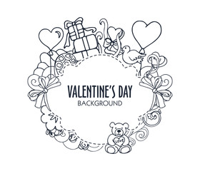 Black and white valentines design with banner for text