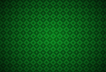 Minimalistic green poker background with texture composed from card symbols