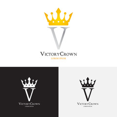 Vector template of victory crown logo. Logotype for uses in different spheres. Fashion logo, royalty logo, premium logo. Vector illustration.