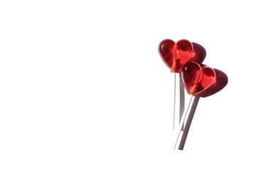 Lollipops. Red hearts. Candy. Love concept. Valentine day. isolated on white background.