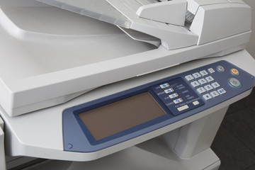 Close-up working printer scanner copier device new photocopier