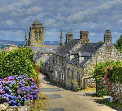 Street in the village of Locronan, Brittany, France