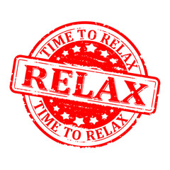 Scratched round red stamped - time for relax, relax - vector svg