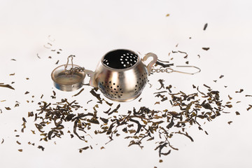 tea strainer on white background ,selective focus
