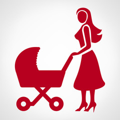 Mother with a baby carriage, vector illustration