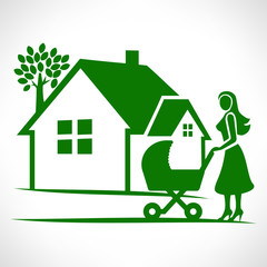 House symbol. Mother with a baby carriage, vector illustration.