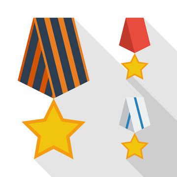 Flat medals icons design