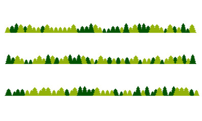 Illustration of an isolated line of trees vector